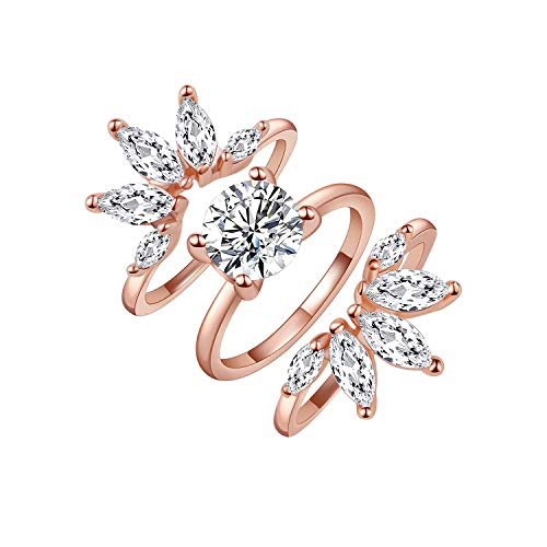 Rose Gold Ring Wedding Engagement Rings Enhancer Set for Women Floral Cubic Zirconia Marquise CZ Band Guard, 3PCS Size 5-9