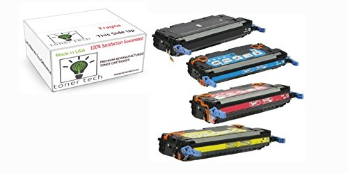 Toner Tech- High Yield Remanufactured OEM Toner Cartridge Replacement Set (Q6470a, Q6471a, Q6472a, Q6473a) for HP 501A/ HP 3600 Set (Complete Set)