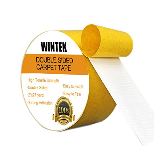 Wintek Strong Double Sided Tape Heavy Duty Carpet Tape 2 Sided Adhesive Mounting Tape on Floor or Wall - 2 inch by 27 yard for Rugs,Pads,Mats (Textured Aisle Runner)