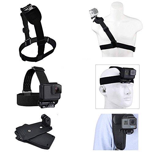AceList 3 Set of Mount Harness Bundle Gopro Include 360 Degree Backpack Clip, Shoulder Harness Mount,Head Mount for GoPro Hero 5, Black, Session, Hero 4, Session, Black, Silver, Hero LCD, 3, 3, 2,1