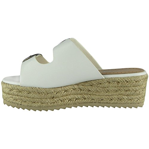 Wedge Ladies Platform Look White Sandals Loud Shoes Espadrilles Size 3 Buckle Womens 8 Slip On YwdzqdE