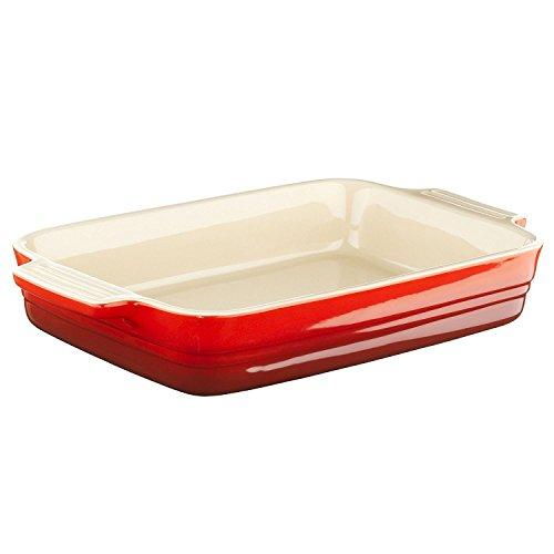 Le Creuset Stoneware 10-1/2 by 7-Inch Rectangular Baking Dish, Cherry - Creuset Le Baker Rectangular