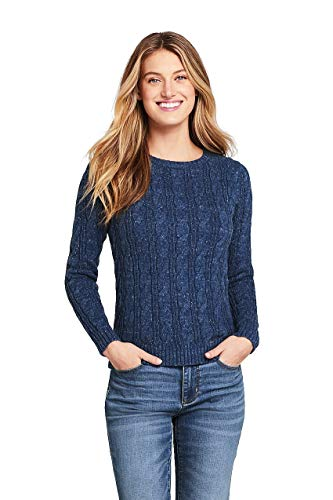 Lands' End Women's Drifter Cotton Cable Knit Sweater Crewneck, L, Navy Snow Heather ()