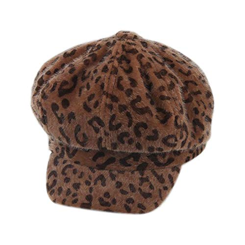 Beret Cap, Women Winter Warm Leopard Print Fashion British Style Hat,Wonderful Gifts (Brown)