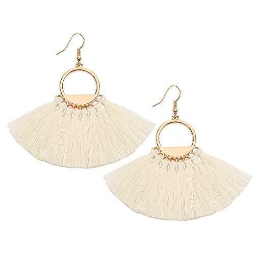 Bohemia Ethnic Tassels Earrings Fan Shape Bohemia Ethnic Earrings Eardrop for Women Girls White Red Black (Shape Earrings Fan)