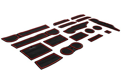 CupHolderHero for Subaru Forester 2019-2020 Custom Liner Accessories - Premium Cup Holder, Console, and Door Pocket Inserts 17-pc Set (Red Trim)