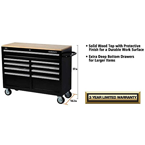 Husky 46 in. 9-Drawer Mobile Workbench with Solid Wood Top, Black by Husky (Image #4)