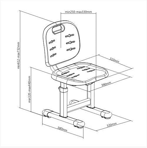 FD FUN DESK SST2 Chaise de Bureau r/églable en Hauteur pour Enfant Vert 380 x 360 x 612~732 mm