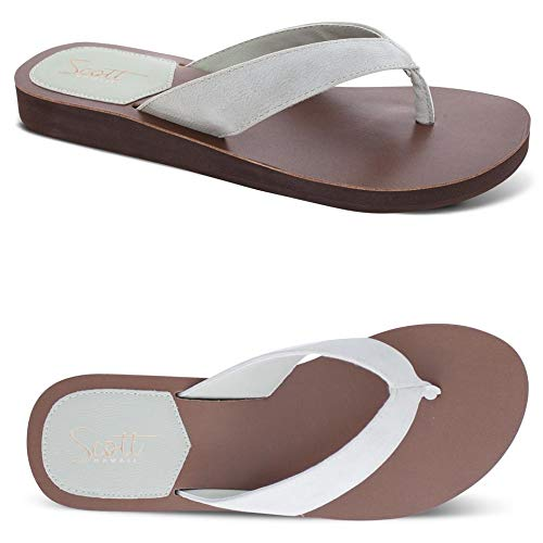 Women's Scott Vegan Leather Hauoli Sandals | Wide PU Leather Straps | Creme Colored | Size ()