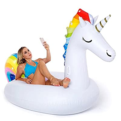 DMGF Unicorn Swimming Pool Inflatable Float Party Toys Giant Air Mat For Adults Children Lake Ride-Ons River Vacation Beach Outdoor Chairs 108 X 55 X 48 Inch