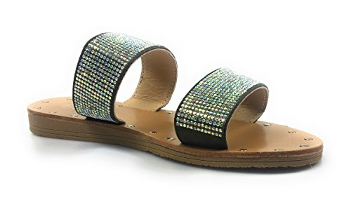 Forever Mujeres Open Toe Rhinestone Embellecido Diapositiva Sandalia Plana Zapato Flip Flop Zapatilla Olive Hennie-29