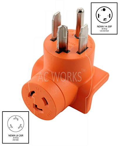 AC WORKS [AD1430L620] Dryer Outlet Adapter NEMA 14-30P 30Amp Dryer Outlet to L6-20R 20Amp 250Volt Locking Female Connector by AC WORKS (Image #1)