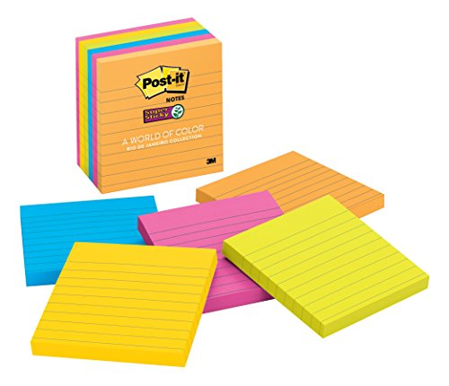 Post-it Super Sticky Notes, 4 in x 4 in, Rio de Janeiro Collection, Lined, 6 Pads/Pack (675-6SSUC)
