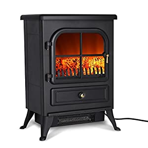 Finether Portable Electric Fireplace Stove Heater 1500W Freestanding  Electric Vintage Fireplace With Openable Door Realistic Flame And Logs