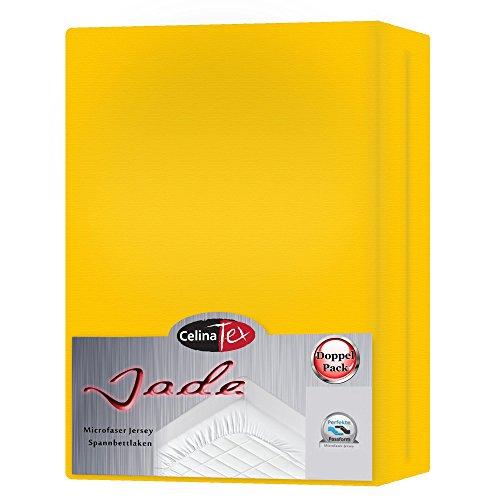 Jersey Spannbettlaken Set Jade | 3 Größen viele Farben | pflegeleichtes Mikrofaser Spannbetttuch im Doppelpack | 0003930 CelinaTex | 90 x 200 - 100 x 200 cm mais gelb