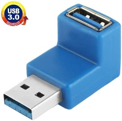 ZYS USB 3.0 AM to USB 3.0 AF Cable Adapter with 90 Degree Angle Blue