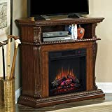 ClassicFlame 23DE1447-W502 Corinth Wall or Corner TV Stand for TVs up to 47'', Burnished Walnut (Electric Fireplace Insert sold separately)