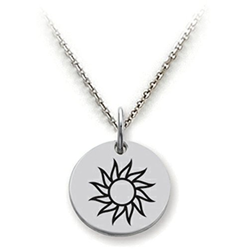 Stellar White Sterling Silver Sun Disc Pendant Necklace Chain Included
