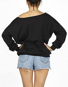 QZUnique Women's Digital Print Long Sleeve Strapless Pullover Fleece Sweatshirt