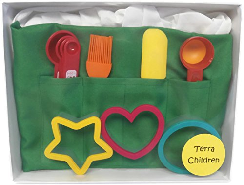 Kids Baking Set Apron Chefs Hat Cookie Cutters Scoop Measuring Spoons Spatula Brush (Green) by Auberge Procusts (Image #2)