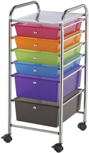 6 Drawers Multicolor Storage Cart - 13'' x 32'' x 15.5'' 1 pcs sku# 633515MA by Blue Hills Studio