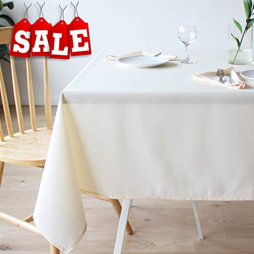 Stain Resistant Ivory Tablecloth Polyester Beige Table Cover – For Kitchen Dining Room Washes Easily Non Iron Wrinkle Free – Thanksgiving Christmas New Year Eve dinner (BEIGE, Rectangle 60″x120″)