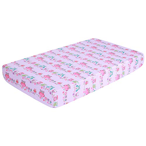 "EliteHomeProducts EHP Super Soft Microfiber Crib Fitted Sheet, Breathable Sheets That Stay Cool, 28"" X 52"" + 9"" (Printed Design/Deep Pocket) (Owl)"