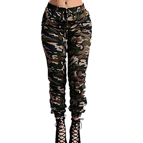 XWDA Women Stretch Waist Military Camouflage Casual Loose Long Pants Trouser