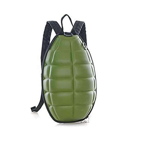 - New Fashion Women Men Turtle Shell Style Backpack Hand Grenade Bomb Shoulder Bag (Green)