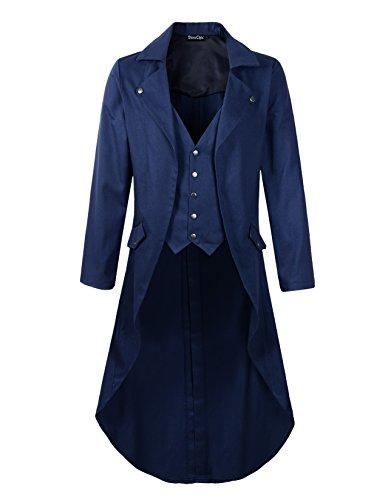 DarcChic Mens Gothic Tailcoat Jacket Black Steampunk VTG Victorian Coat (XXXL, Blue) by DarcChic