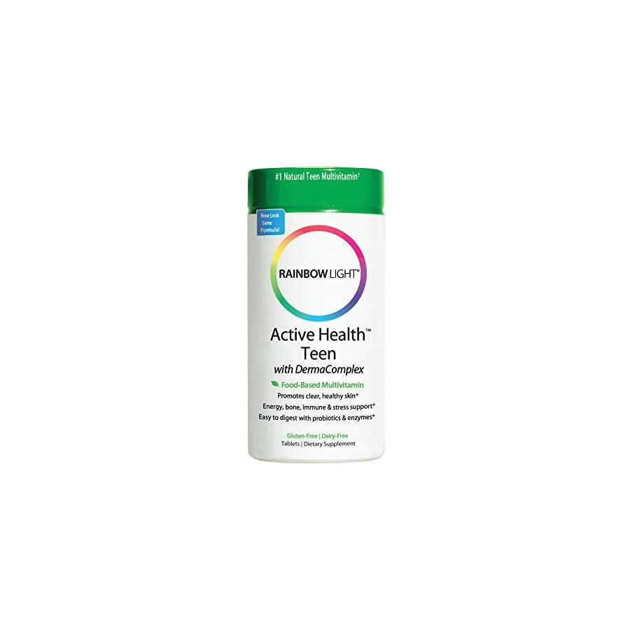 Rainbow Light Active Health Teen Multivitamin with DermaComplex Provides Vitamins and Nutrients; Supports Nutrition, Natural Energy, Mood, Brain Health, and Immune System in Teens 90 Tablets