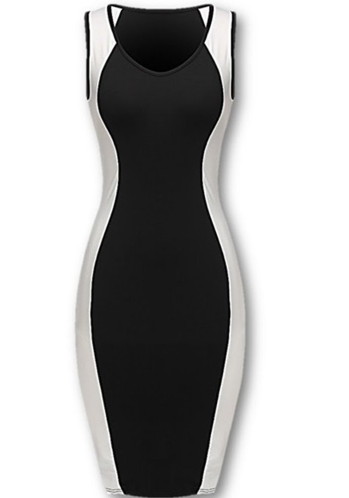 White Black Color Block Sexy Club Hourglass Dress for Women Sleeveless Fitted Bodycon Dress (Medium)
