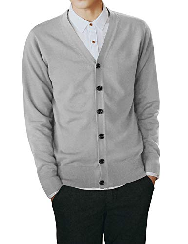 TOPTIE Men's Casual Fit V-Neck Cotton Sweater Cardigan-Gray-XL