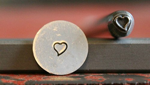 SUPPLY GUY 5mm - 7mm Single Metal Punch Design Stamp: Hearts, Made in USA (Not a Set) (MINI SLANTED HEART -
