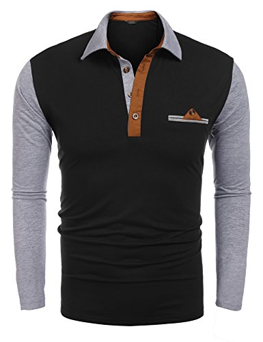 COOFANDY Mens Polo Shirt Long Sleeves Slim Fit Contrast Collar Cotton Classic T Shirts
