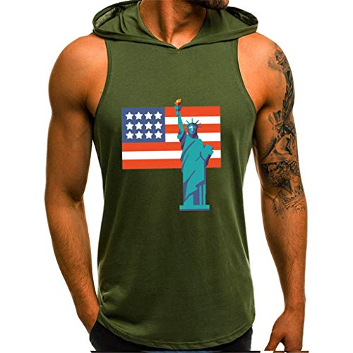 (iHPH7 Mens Print Sleeveless Fitness Vest Bodybuilding Stringers Workout Tank Tops Men Fashion Printing Style Design Sport Casual Shirts Blouse S 4- Green)