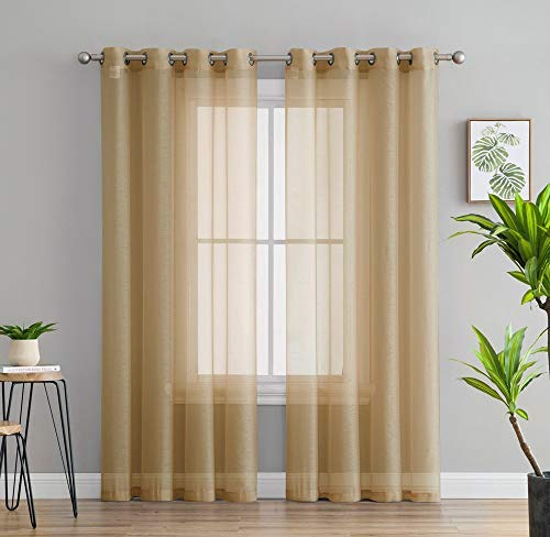 - HLC.ME 2 Piece Semi Sheer Voile Window Treatment Curtain Grommet Panels for Bedroom & Living Room (54