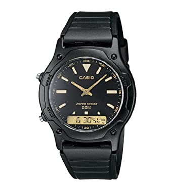 Casio Reloj digital dual tiempo para hombre, resistente al agua 50 metros, con alarma