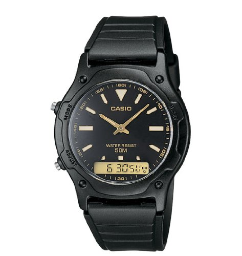 Casio Men's Analog-Digital Dual Time Watch, Water Resistant 50 Meters, with Alarm and Digital Stopwatch, Auto Calendar, and Hourly Signals, with a Resin Band with a Black Face (Resin Stopwatch Mens)