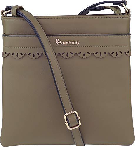 (B BRENTANO Vegan Medium Crossbody Handbag Purse (Martini Olive.))