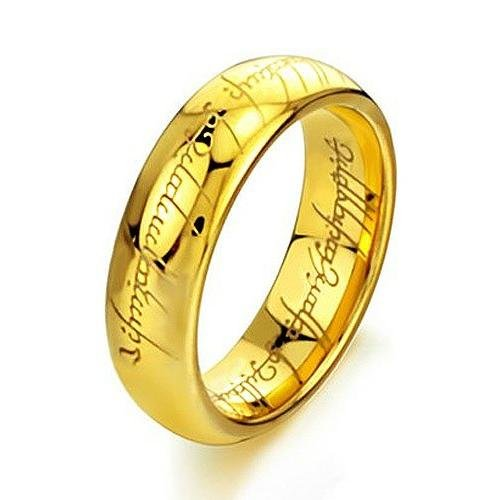 Elove Jewelry 6mm Tungsten Ring Gold Plated Rings (Lord Of The Rings Eye Of Mordor)