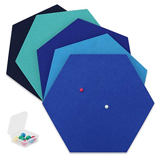 SEG Direct Hexagon Felt Board Blue Series 5 PCS Set with Push Pins 10.2 x 11.8 x 0.5 inches
