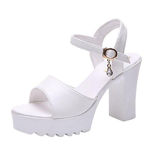 (Nevera Women's Ankle Strap High Heel Open Toe Sandal Pump Chunky Platform Shoe White)