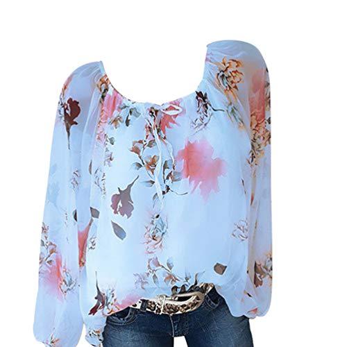 Plus Pullover Longues Chemisier Size Manches Shirt Top T Bleu Imprimer Xinwcang Femme Blouse HwqCxgpX