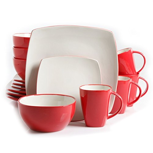 Soho Lounge 16-Piece Dinnerware Set White and Red