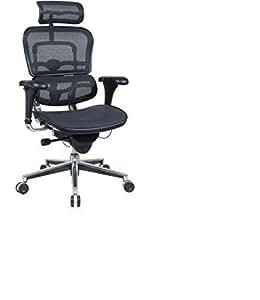 Ergohuman High Back Swivel Chair with Headrest, Black Mesh & Chrome Base