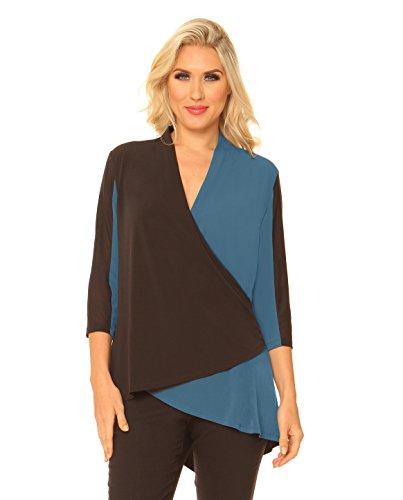 Alisha D Women's Color Blocked Asymmetric Wrap Front Blouse Top with Rolled Collar (Small,Teal-Black) ()