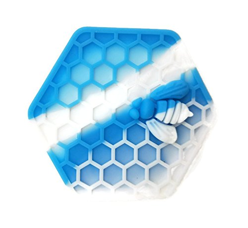 Honey Bee Non Stick (Exceed Excellence 1PCS 26ml NonStick Hexagon Silicone Container Honeybee Silicone Jar-by Selected Supplier Amazon Store (blue+white))
