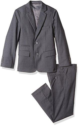 Isaac Mizrahi Boys' Big Textured 2pc Slim Fit Solid Suit, Charcoal, 14