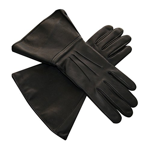 Leather Vii Dart - Black Gauntlet Real Leather 501st Approved Gloves with Three Darts (XS-7)